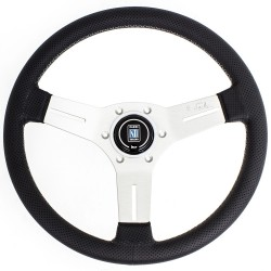 Nardi Competition Steering Wheel - Leather with Satin Spokes & Grey Stitching - 330mm