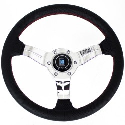 Nardi Deep Corn Steering Wheel - Perforated Leather with Polished Spokes & Red Stitching