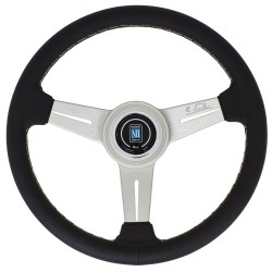 Nardi Classic Steering Wheel - Leather with Satin Spokes & Grey Stitching - 330mm