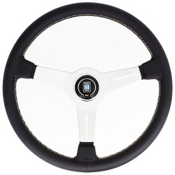 Nardi Classic Steering Wheel - Leather with Satin Spokes & Grey Stitching - 360mm