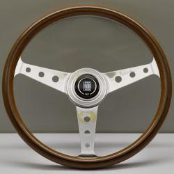 Nardi Classic Steering Wheel - Wood with Polished Spokes (Round Hole) - 360mm