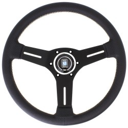 Nardi Competition Steering Wheel - Leather with Black Spokes & Grey Stitching - 330mm