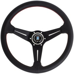 Nardi Deep Corn Steering Wheel - Perforated Leather with Black Spokes & Red Stitching