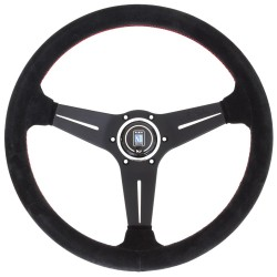 Nardi Deep Corn Steering Wheel - Suede with Black Spokes & Red Stitching