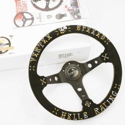 T&E Vertex JDM Steering Wheel - Speed Gold/Silver Hells Racing DESIGNED BY: JUN WATANABE